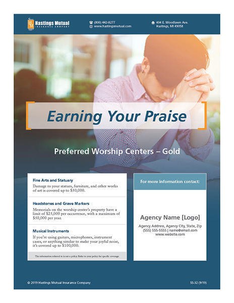 Font side of Preferred Worship Centers - Gold sell sheet