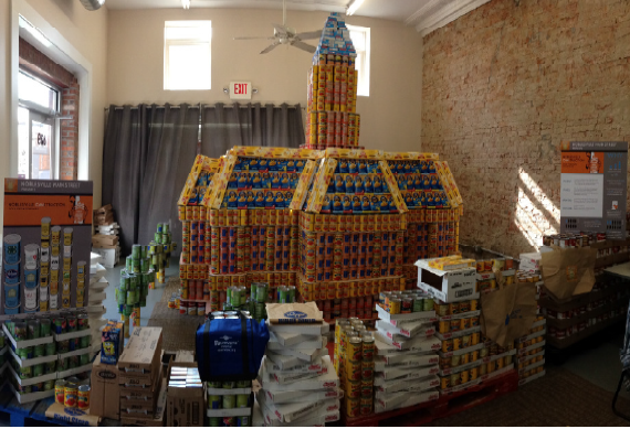 castle made out of canned goods