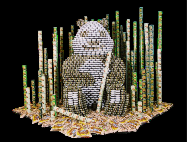 panda made out of canned goods