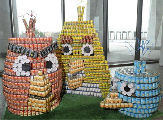 angry birds made out of canned goods